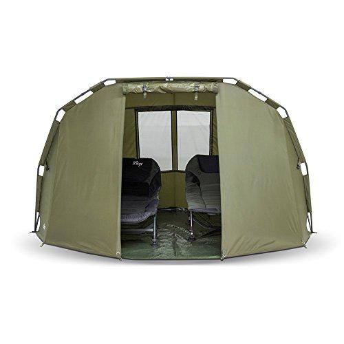 Lucx® Angelzelt Caracal / 1-2 Mann Bivvy / Karpfenzelt / Carp Dome / Zelt, 295x290x165cm, 10.000mm Wassersäule Campingzelt - 5