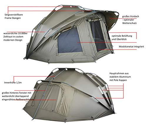 MK-Angelsport Fort Knox 2 Personen Zelt Karpfenzelt Angelzelt komplettes Set inkl. Gummihammer Dome Bivvy - 4
